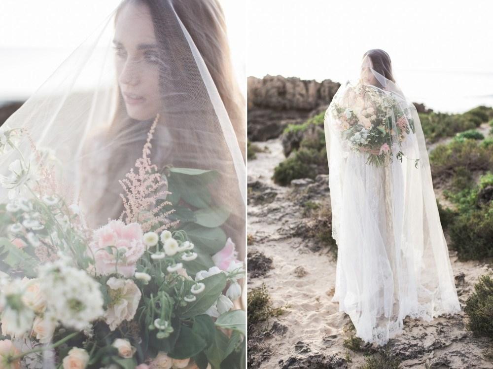 Rocky beach bridal portraits