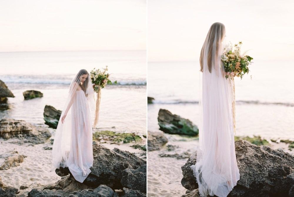Romantic rocky beach bride