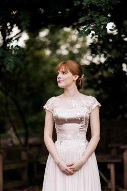 Vintage inspired pink wedding dress
