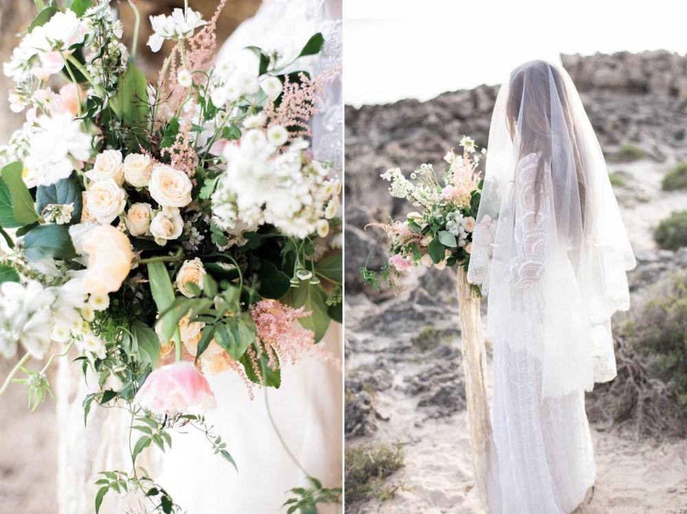 Romantic rocky beach bridal portraits