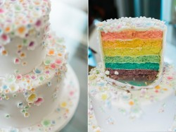 Floral Rainbow Wedding Cake