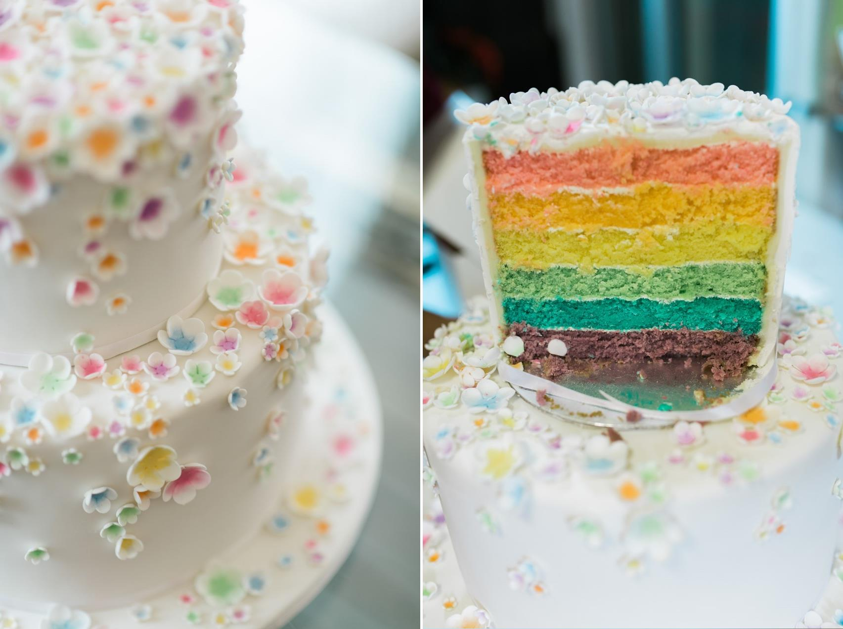Floral Rainbow Wedding Cake