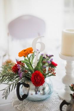 Vintage floral wedding centrepiece