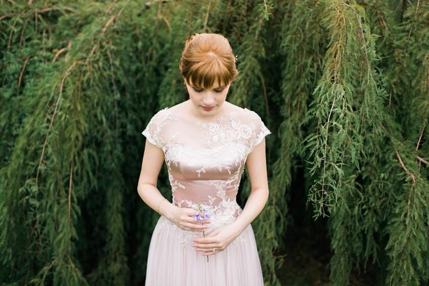 Bride in a beautiful pink wedding dress