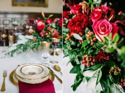 Vintage Red Wedding Place Setting - A Breathtaking Colonial Wedding Styled Shoot in Lima