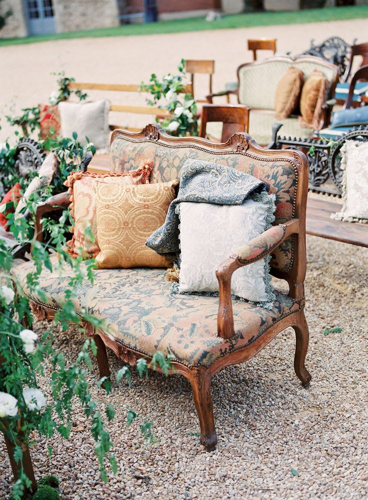 Vintage Wedding Ceremony Seating