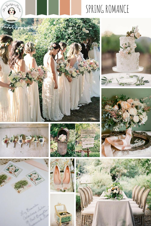 The top 20 wedding posts of 2015 chic vintage brides spring romance garden wedding inspiration in pretty pastel shades of peach blush green junglespirit Choice Image