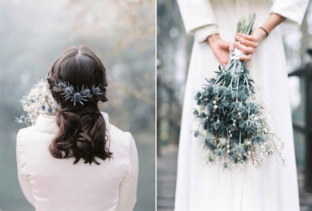 Romantic Winter Bridal Updo & Bouquet