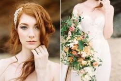 Modern Vintage Bridal Look & Organic Bridal Bouquet