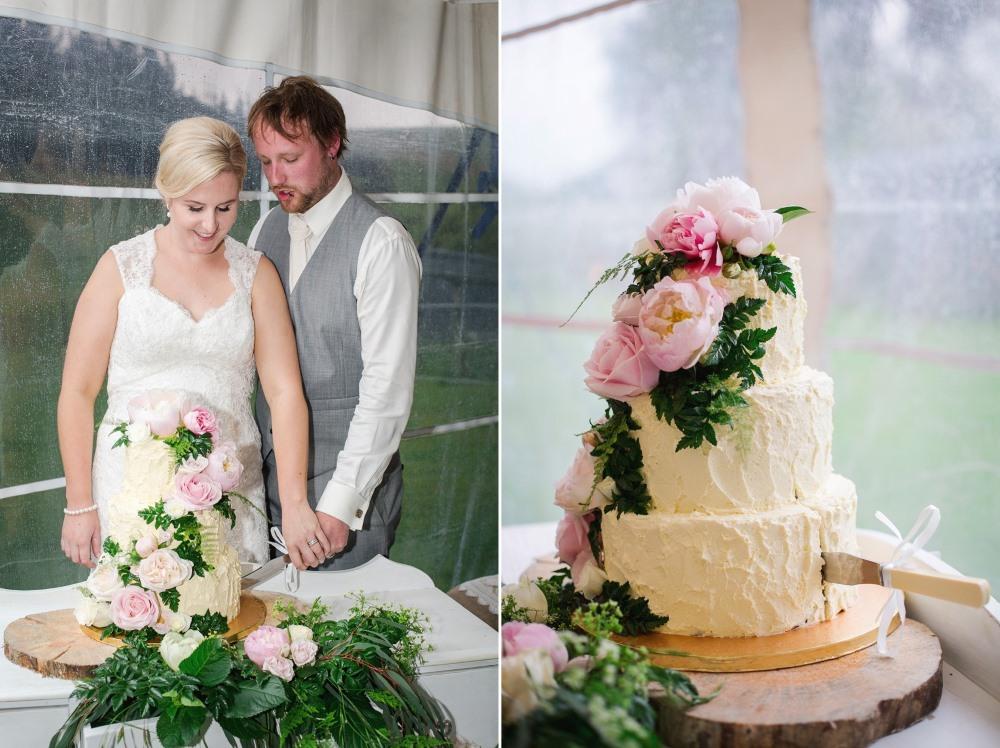 Cutting the wedding cake portrait