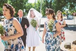 Rockabilly Bride in a Tea Length Wedding Dress