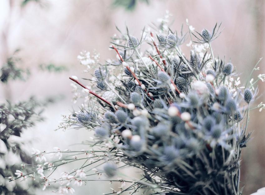 Blue Thistle Winter Bridal Bouquet