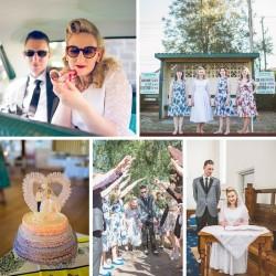 A 1950s Rockabilly Inspired Wedding with a Tea Length Wedding Dress