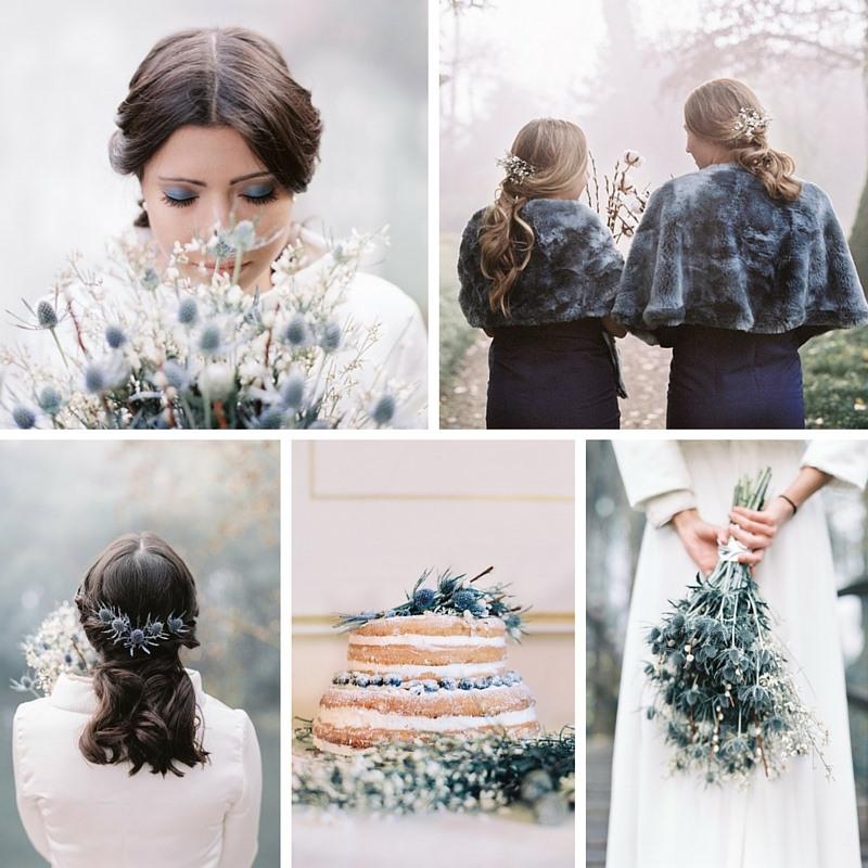 Enchanting Winter Wedding Inspiration in Moody Shades of Blue