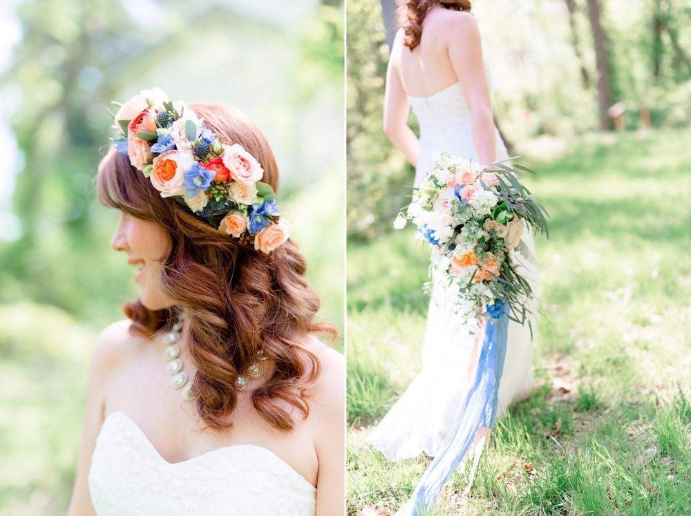 Romantic Spring Wedding Inspiration in Pretty a Peach & Powder Blue Palette Photography by Anna Kardos