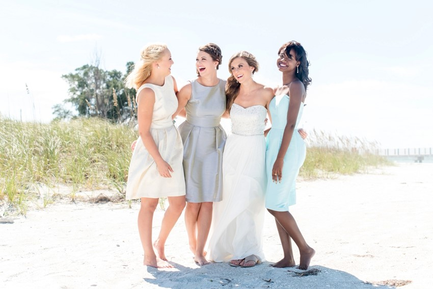 Chic Mismatched Bridesmaid Dresses from Dessy // Photography by Caroline & Evan Photography