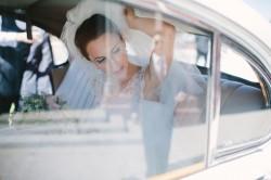 Bride Arriving in a Vintage Car
