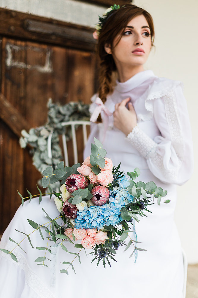 Boho Rose Quartz & Serenity Bridal Bouquet // Photography ~ Lisa Digliglio