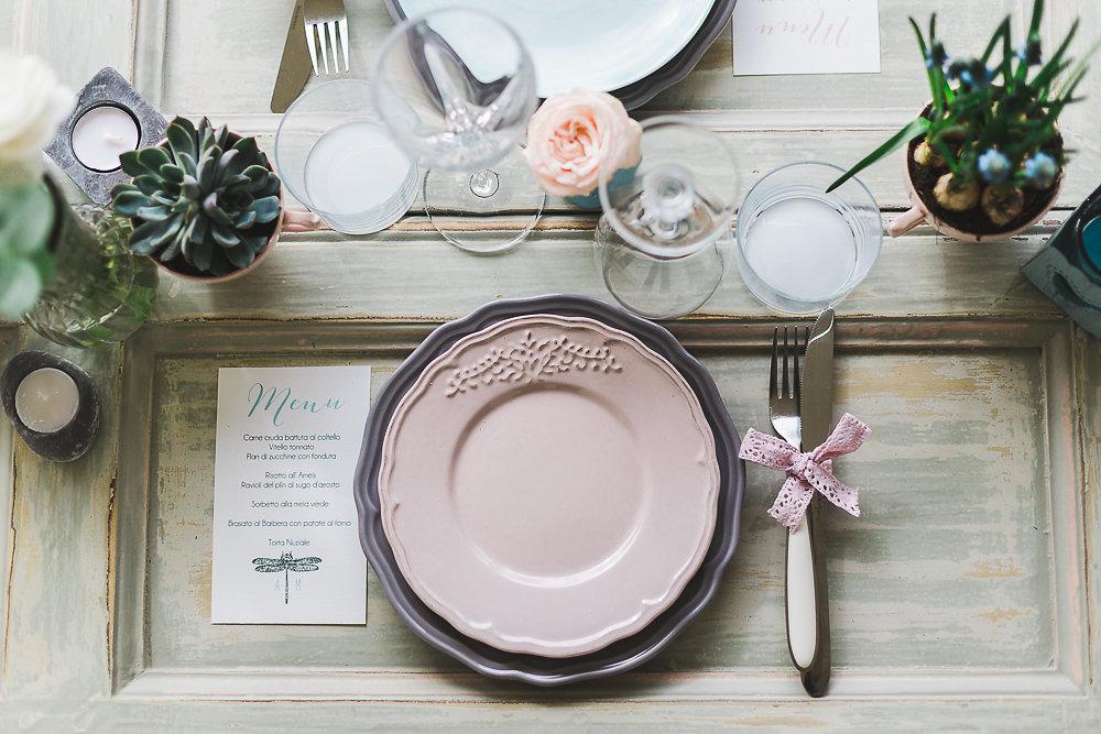 Serenity & Rose Quartz Wedding Place Setting // Photography ~ Lisa Digliglio