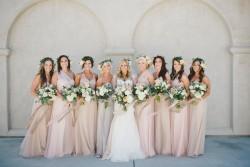 Elegant Boho Vintage Bridesmaids in Rose Quartz Bridesmaid Dresses // Photography by Onelove Photography http://www.onelove-photo.com