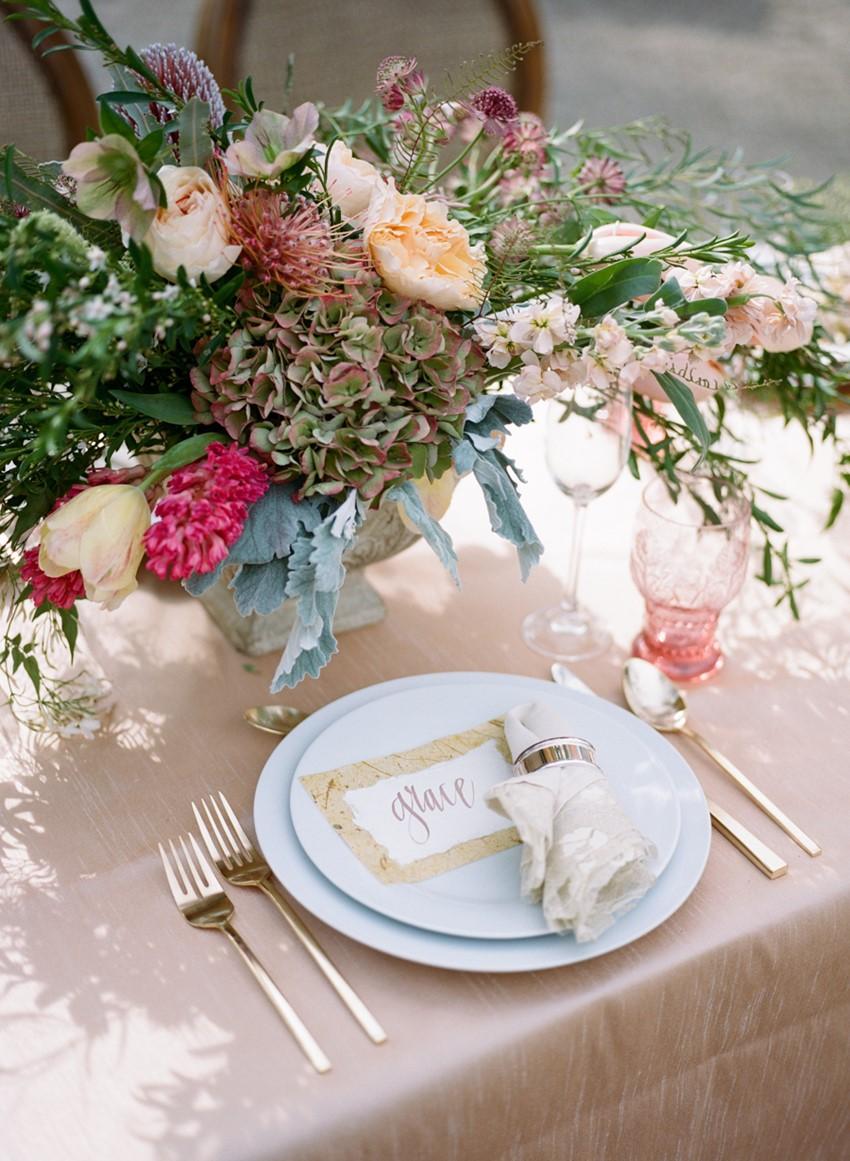Romantic Wedding Place Setting Photography by Archetype Studios Inc