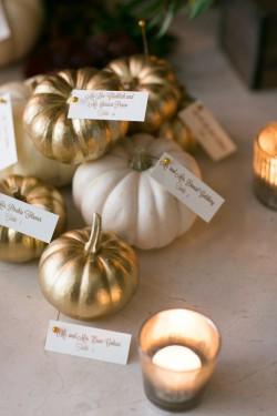 Pumpkin Escort Card Holders // Photography - Sarah Tew Photography