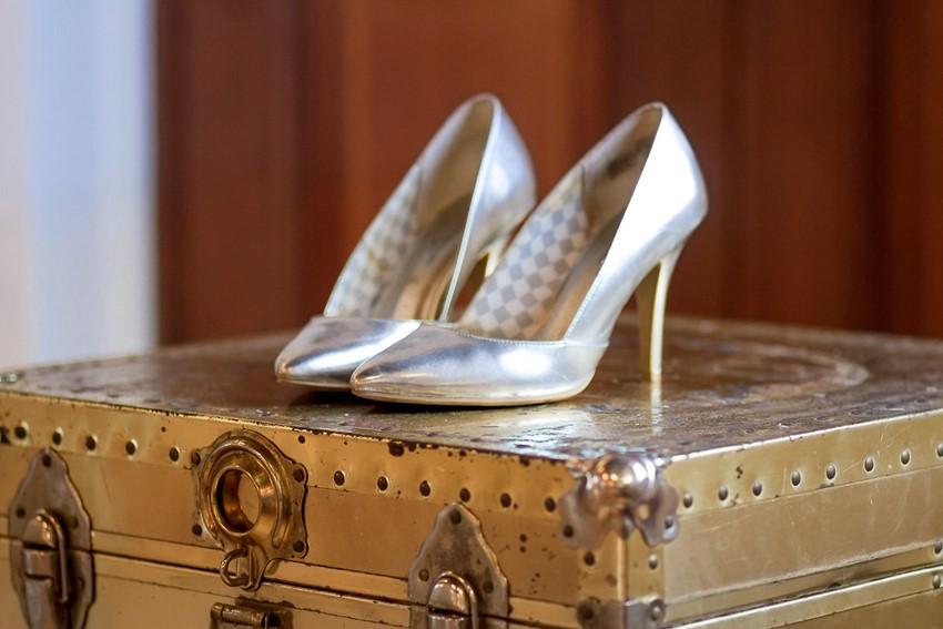 Glamorous metallic bridal shoes// Photography ~ Twin Lens Weddings