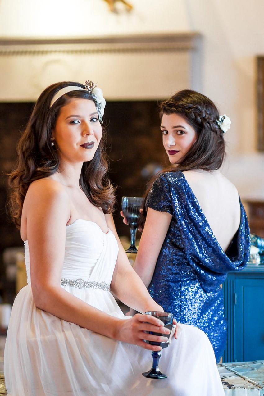 Winter Bride & Bridesmaid in Blue Sequin Bridesmaid Dress // Photography ~ Twin Lens Weddings
