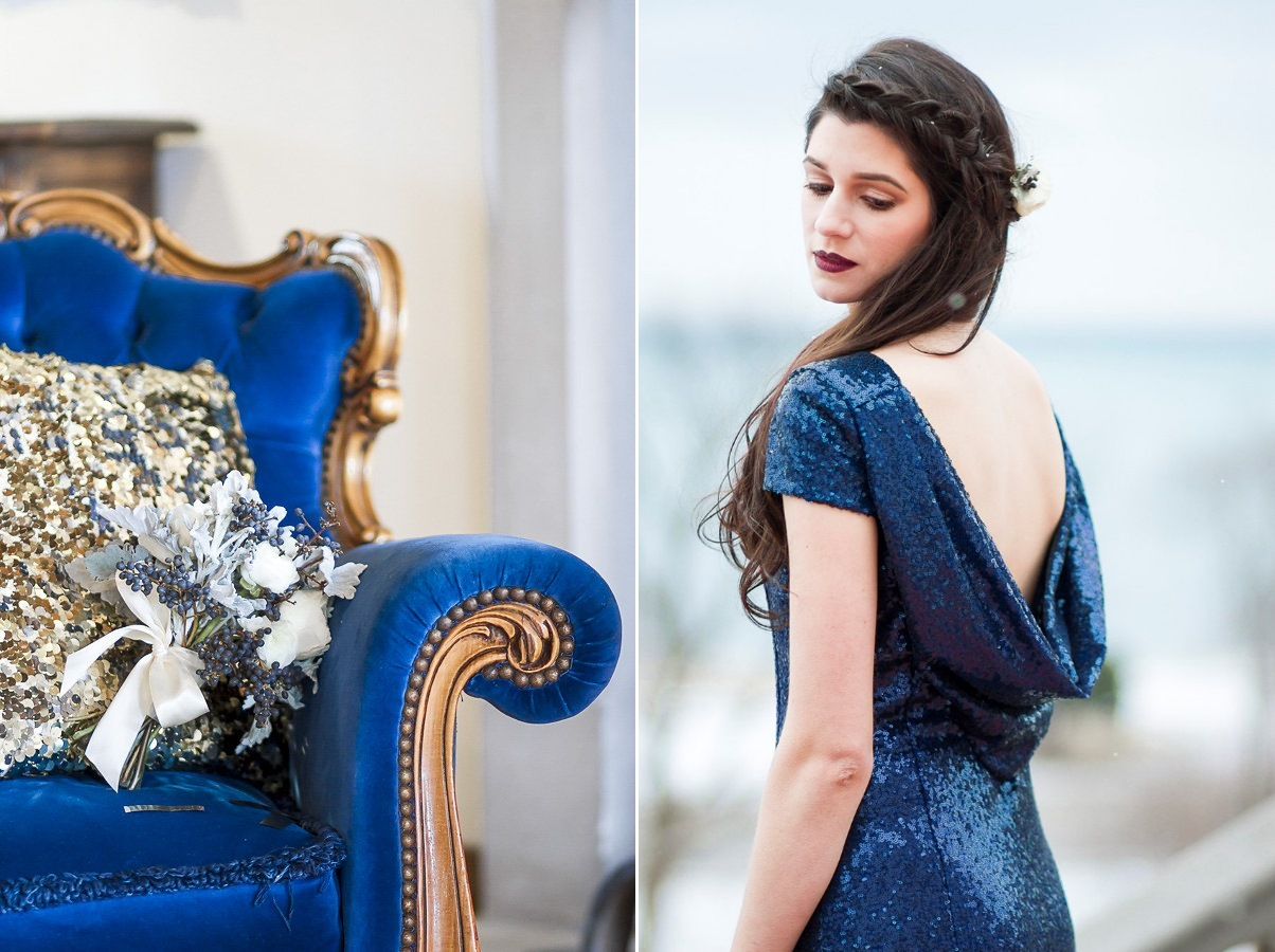 Blue Sequin Bridesmaid Dress // Photography ~ Twin Lens Weddings