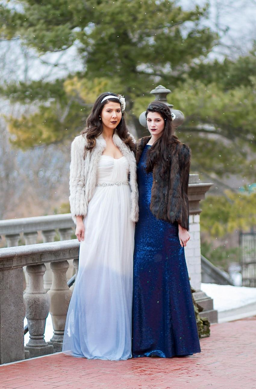 Winter Bridesmaid & Bride in a Blue Ombre Wedding Dress // Photography ~ Twin Lens Weddings