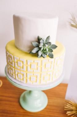Mid Century Inspired Wedding Cake // Photography ~ Amanda Dumouchelle Photography