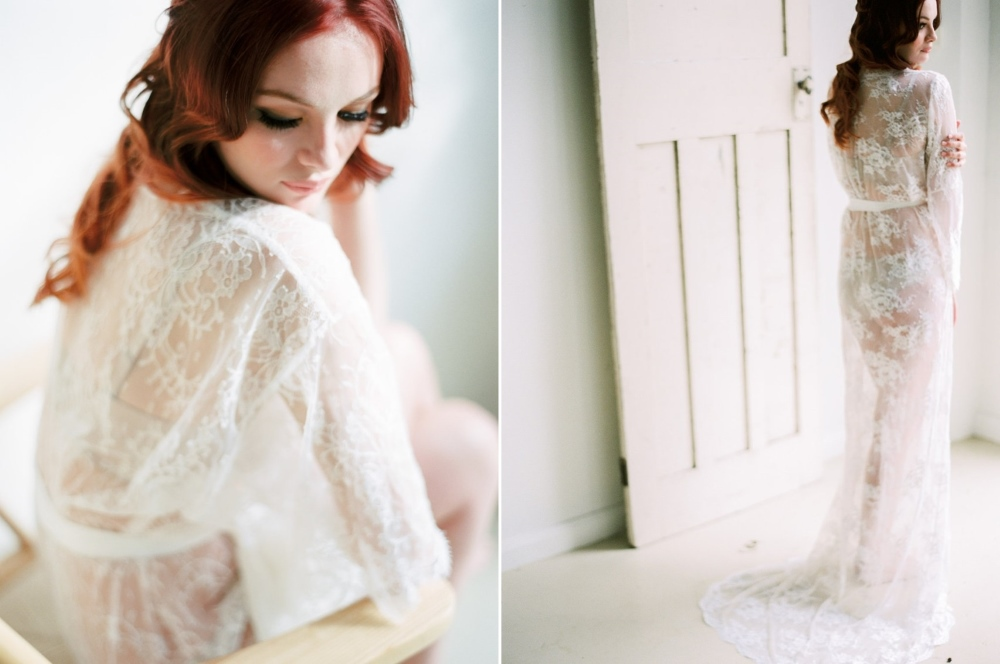 Bridal boudoir session with a lace robe // Photography ~ We Are Origami