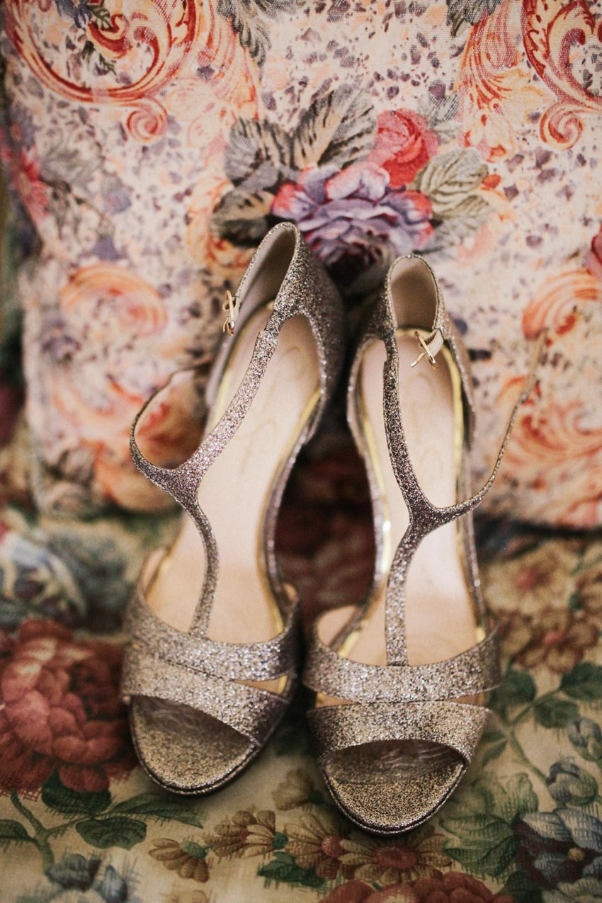 Sparkly bridal Shoes // Photography by Brown Paper Parcel