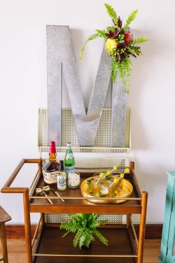 Mid Century Elopement Drinks Table // Photography ~ Amanda Dumouchelle Photography
