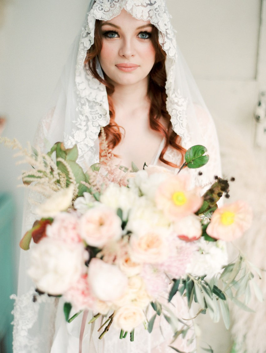 Lush Spring bridal bouquet in blush, pink & peach // Photography ~ We Are Origami