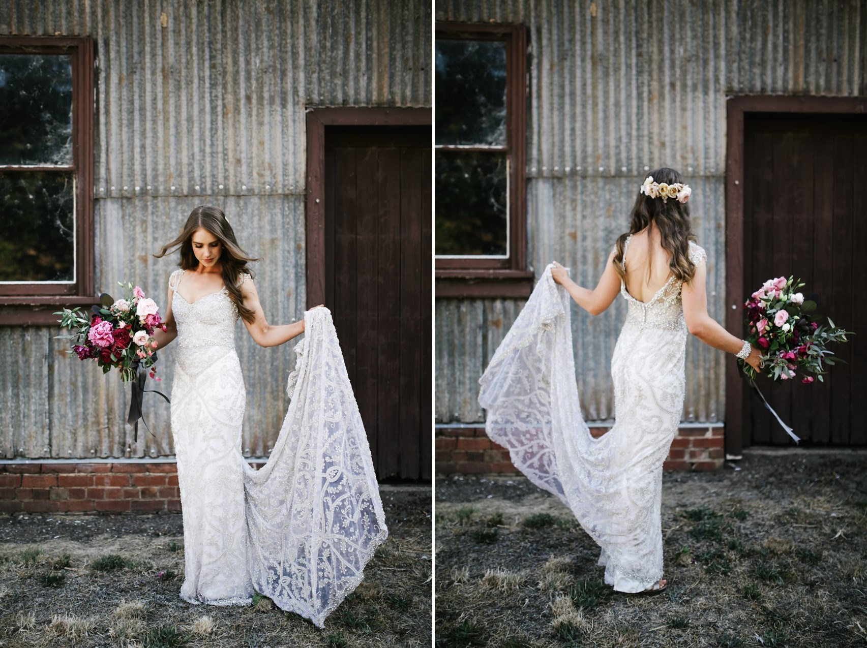 Beautiful Anna Campbell wedding dress // Photography by Brown Paper Parcel