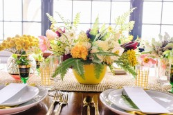 Yellow Floral Wedding Centrepiece // Photography ~ Amanda Dumouchelle Photography
