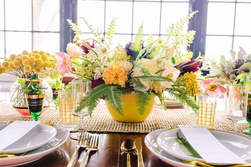 Yellow Floral Wedding Centrepiece // Photography ~ Amanda Dumouchelle Photography