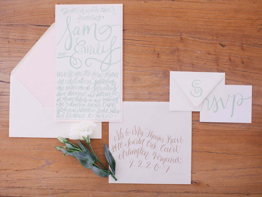 Watercolour Calligraphy Wedding Stationery // Photography ~ @shannonduggan