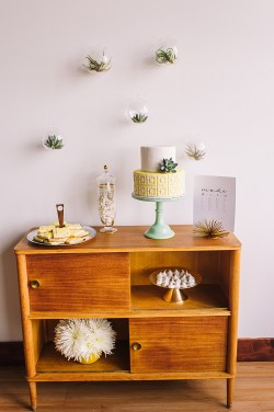 Mid Century Inspired Elopement Dessert Table // Photography ~ Amanda Dumouchelle Photography