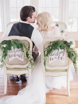 Calligraphy Bride & Groom Chair Signs // Photography ~ @shannonduggan