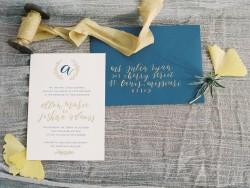 Elegant Blue & Gold Wedding Stationery // Photography ~ Wendy Cooper Photography
