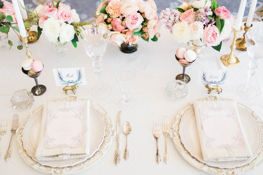 Stunning Vintage Inspired Wedding Tablescape in Pretty Pastels // Photography ~ Kerry Jeanne Photography