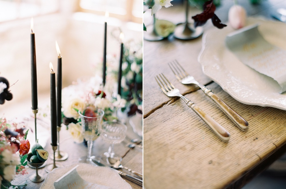 Romantic Modern Vintage Wedding Place Settings // Photography ~ Rachel Solomon Photography