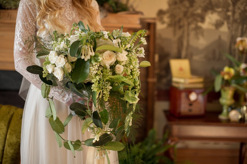 Vintage Inspired Green & White Bridal Bouquet // Photography ~ Nataschia Wielink