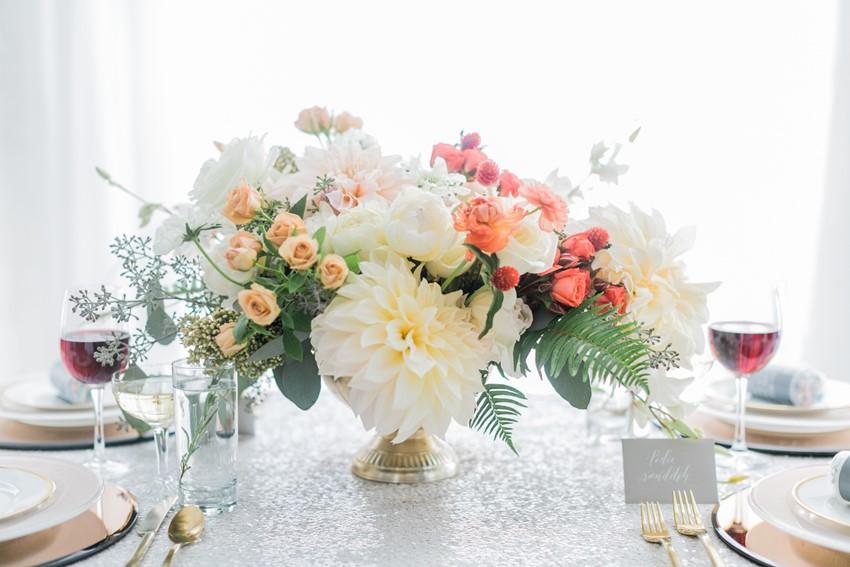 Elegant Floral wedding centrepiece // Photography ~ Alexis June Weddings