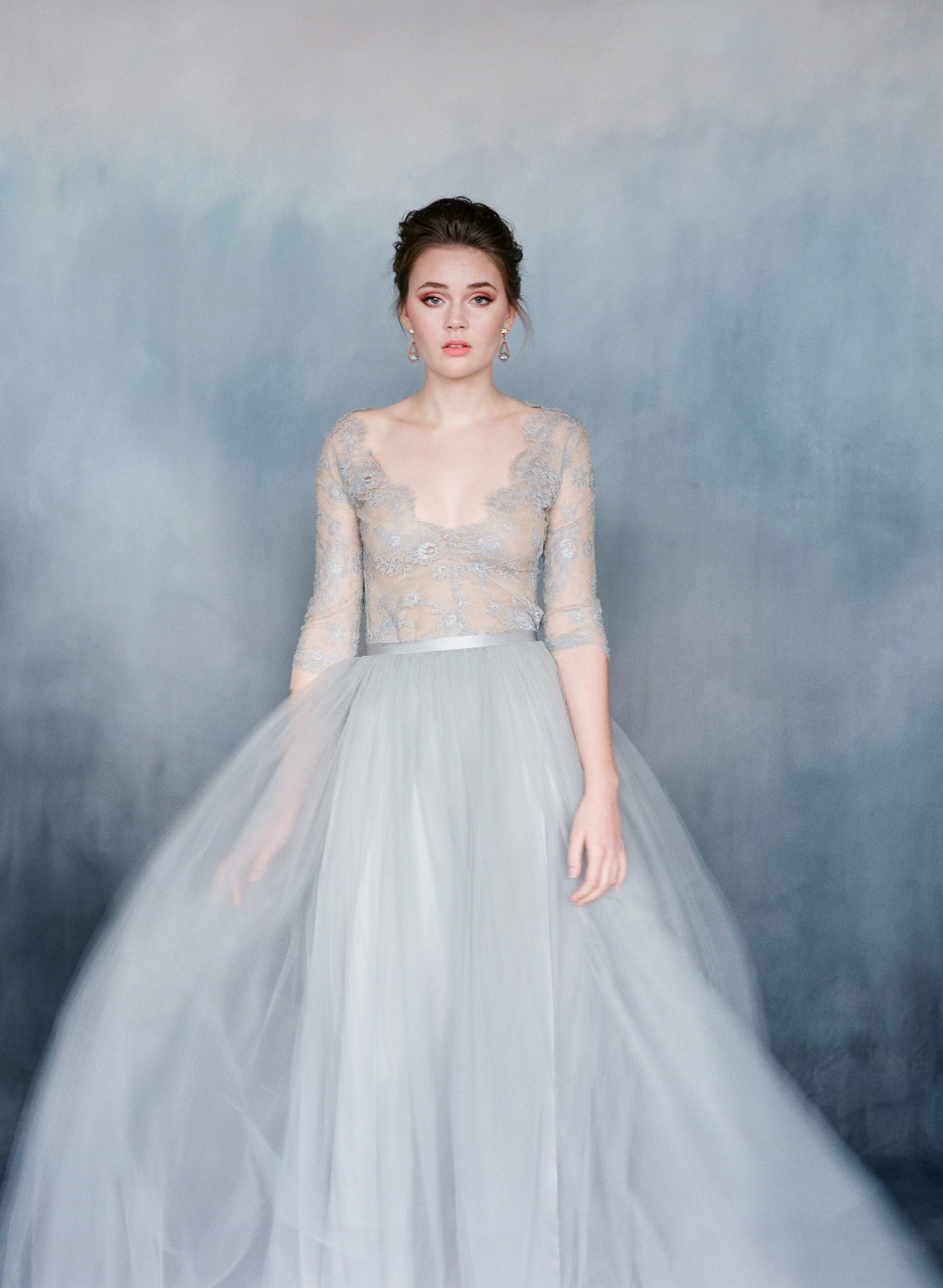 Heavenly Blue Lace Wedding Dress from Emily Riggs - Chic Vintage ...