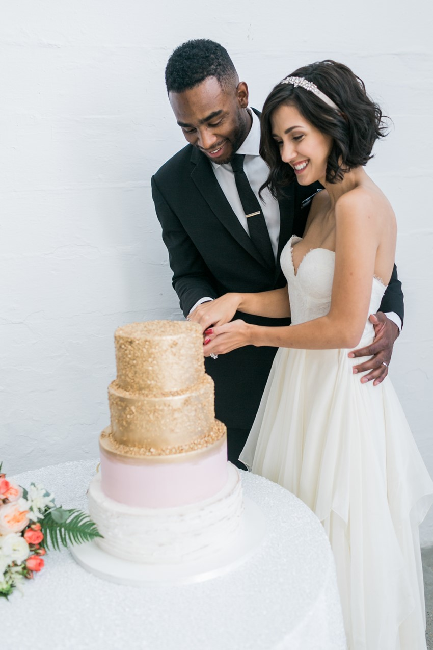 Pink & Gold Wedding Cake // Photography ~ Alexis June Weddings