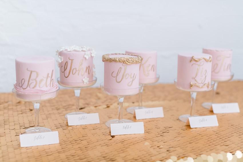 Mini Pink & Gold Individual Wedding Cakes // Photography ~ Alexis June Weddings