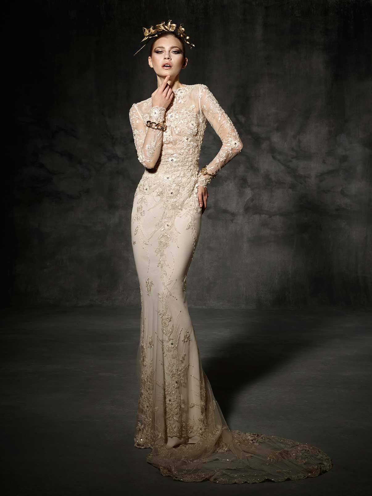 Glamorous Gold Long Sleeved Wedding Dress Bruc from Yolan Cris